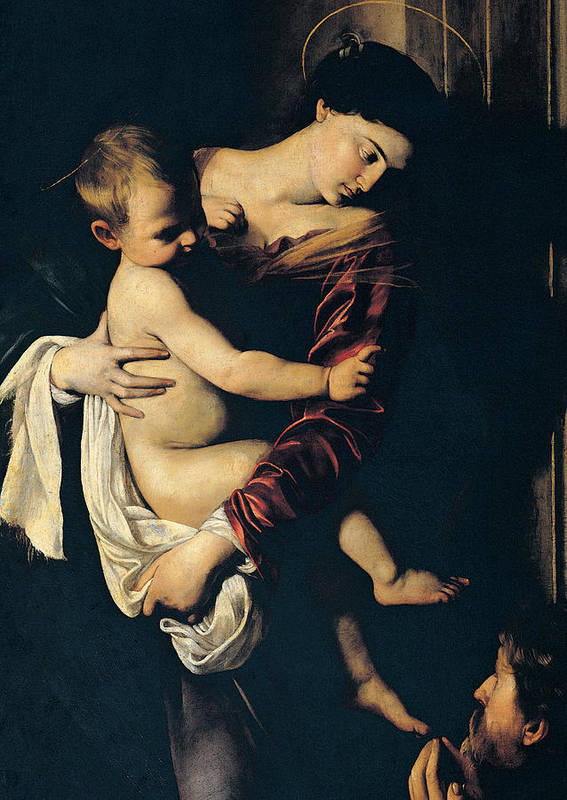 Madonna And Child Print featuring the painting Madonna Di Loreto by Caravaggio