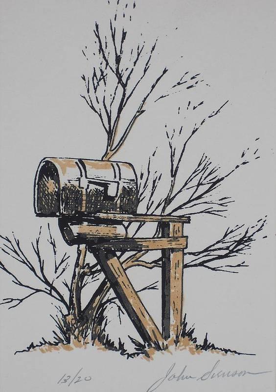 John Svenson Print featuring the painting Mail Box by John Svenson