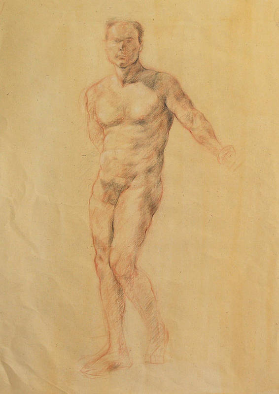 Drawing Print featuring the drawing Male Nude 2 by Becky Kim
