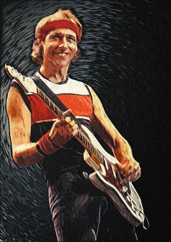 Mark Knopfler Print featuring the painting Mark Knopfler by Taylan Apukovska