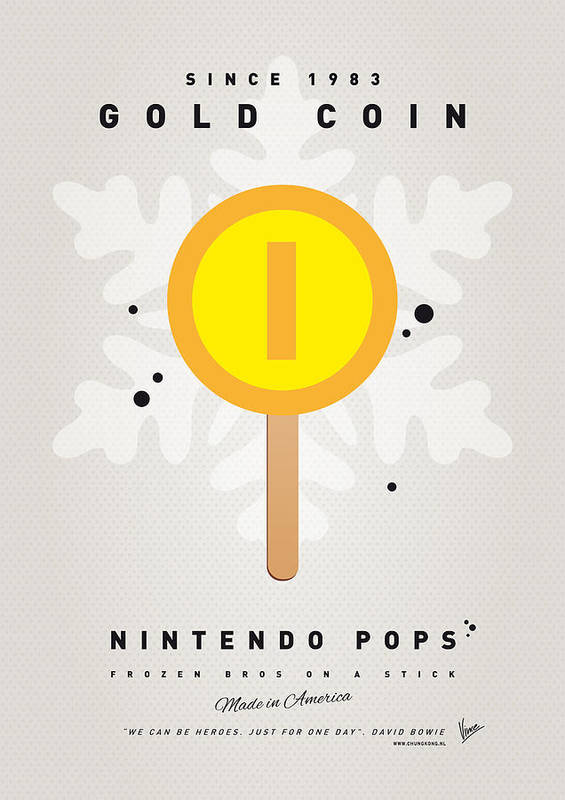 1 Up Print featuring the digital art My Nintendo Ice Pop - Gold Coin by Chungkong Art