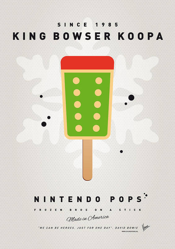 1 Up Print featuring the digital art My Nintendo Ice Pop - King Bowser by Chungkong Art