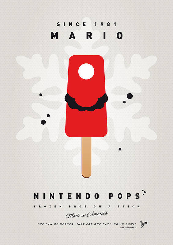1 Up Print featuring the digital art My Nintendo Ice Pop - Mario by Chungkong Art