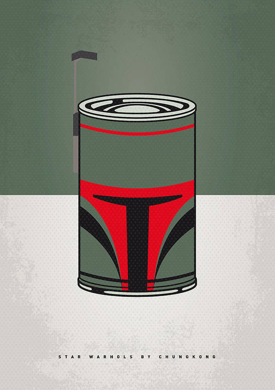 Star Print featuring the digital art My Star Warhols Boba Fett Minimal Can Poster by Chungkong Art