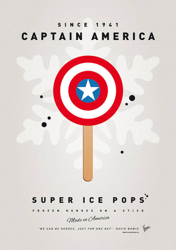 Superheroes Print featuring the digital art My Superhero Ice Pop - Captain America by Chungkong Art