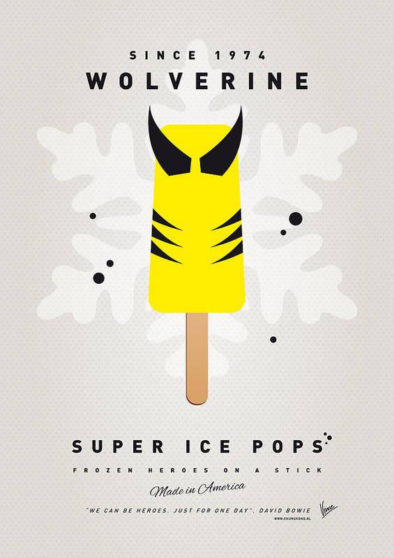 Superheroes Print featuring the digital art My Superhero Ice Pop - Wolverine by Chungkong Art