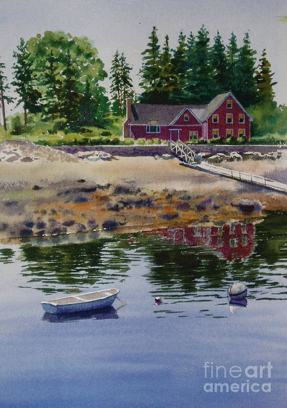 Pine Trees Print featuring the painting Newagen Dingy by Karol Wyckoff