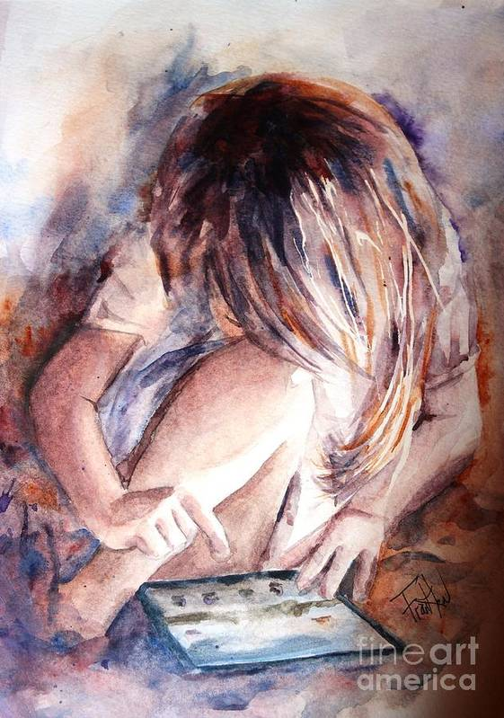 Girl Print featuring the painting Once Upon An Ipad by Leslie Franklin