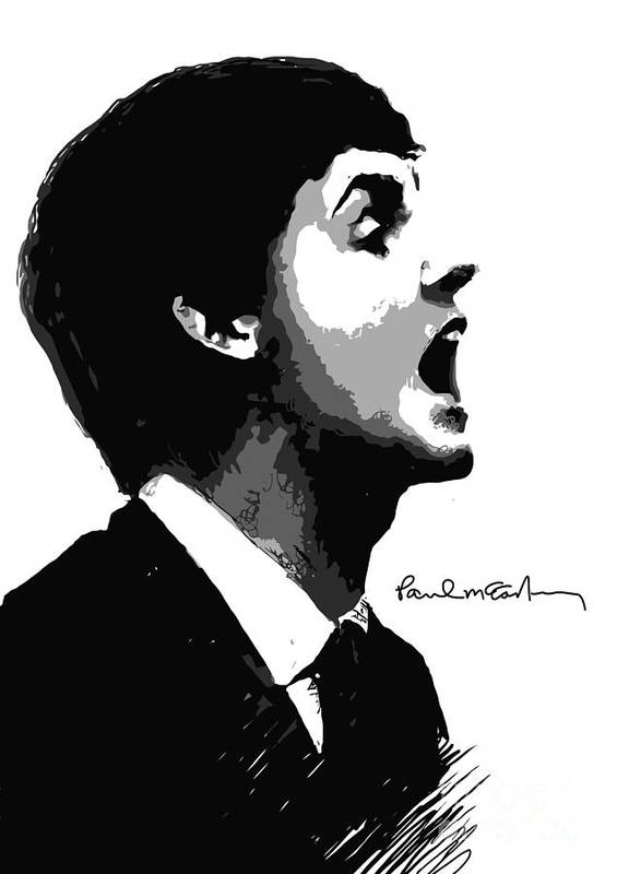 Paul Mccartney Print featuring the digital art Paul Mccartney No.01 by Caio Caldas