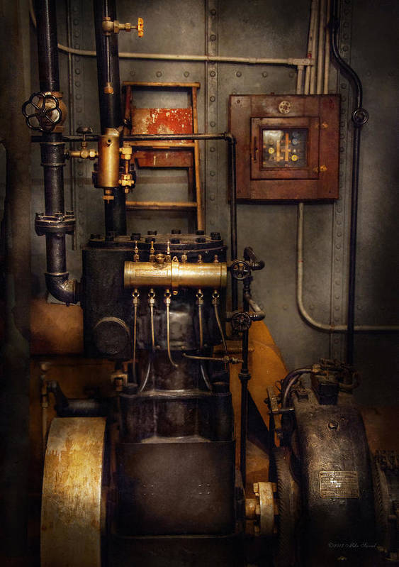 Hdr Print featuring the photograph Steampunk - Back In The Engine Room by Mike Savad