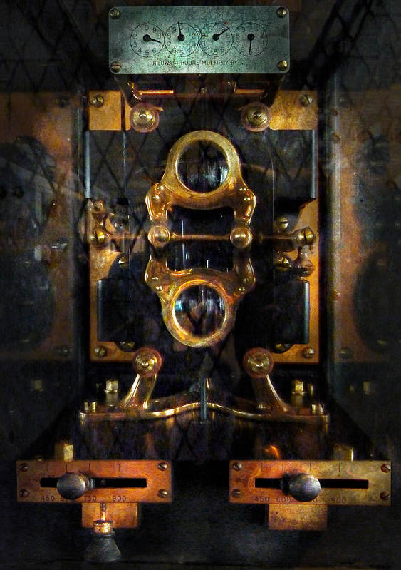 Hdr Print featuring the photograph Steampunk - Electrical - The Power Meter by Mike Savad