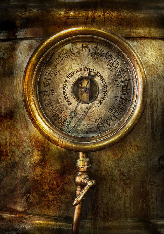 Hdr Print featuring the photograph Steampunk - The Pressure Gauge by Mike Savad