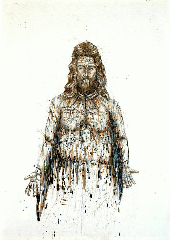 Art Print featuring the painting The Faces Of Body Of Jesus Christ by Thomas Lentz