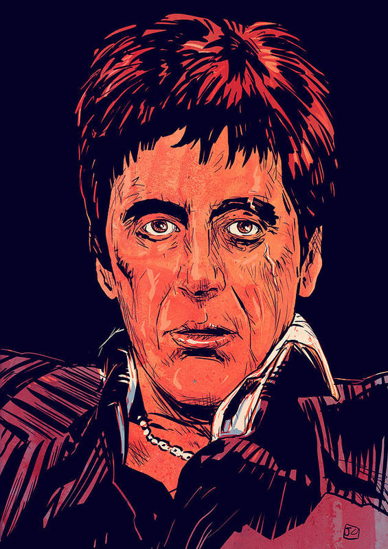 Al Pacino Print featuring the drawing Tony Montana by Giuseppe Cristiano