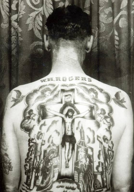 Jesus Christ; Male; 19th; 20th; Male; Portrait; Tattoed; Tattoo; Body Art; Back; Crucifix; Crucifixion Print featuring the photograph W H Rogers Clarksville Tennessee by American Photographer