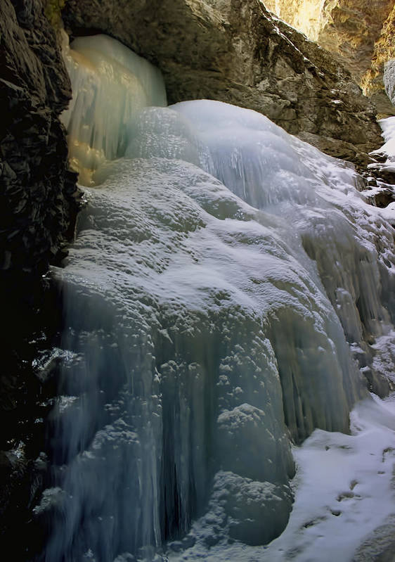 Nature Print featuring the photograph Winter At Zapata Falls by Ellen Heaverlo