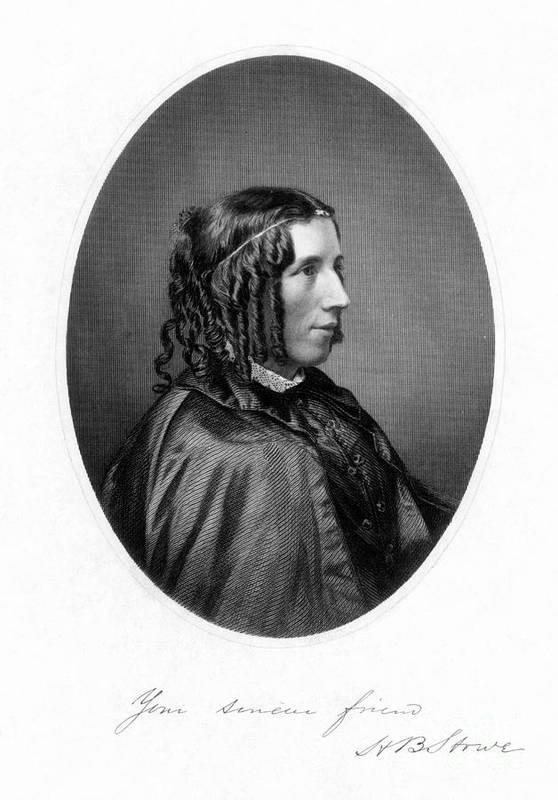 1853 Print featuring the photograph Harriet Beecher Stowe by Granger