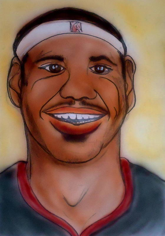 Lebron James Print featuring the painting Lebron James by Pete Maier