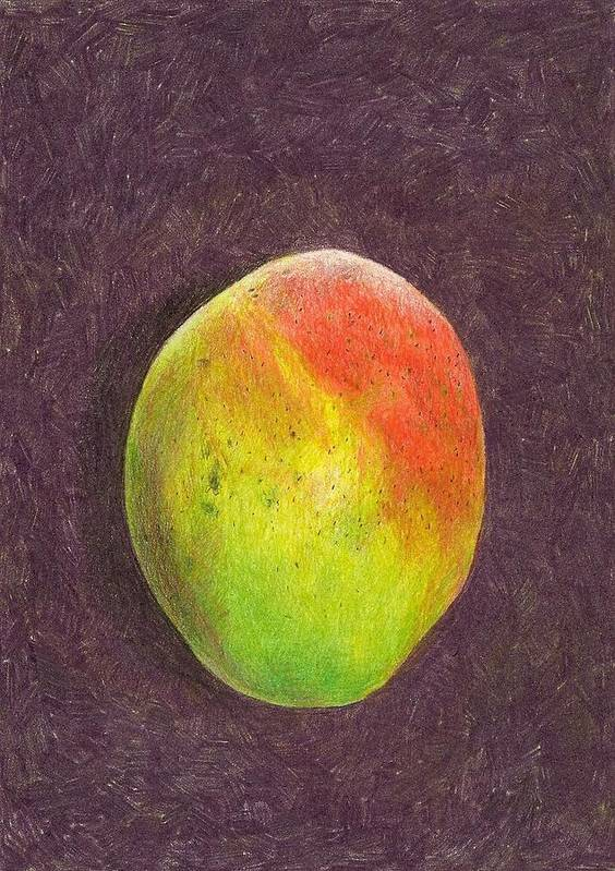 Mango Print featuring the drawing Mango On Plum by Steve Asbell