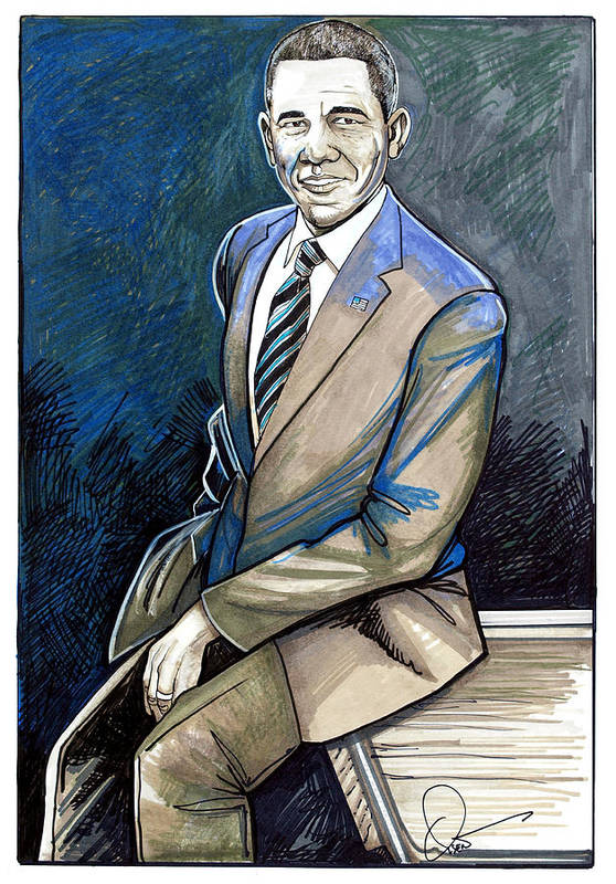 Barack Obama Print featuring the drawing Obama 2012 by Dave Olsen