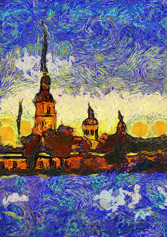 Saint Print featuring the digital art Starred Saint Petersburg by Yury Malkov