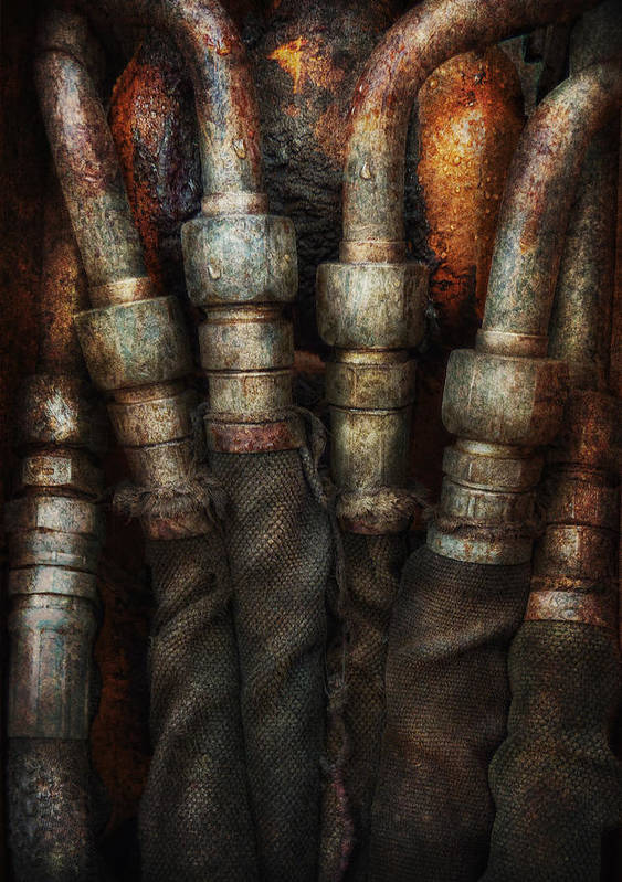 Hdr Print featuring the photograph Steampunk - Pipes by Mike Savad