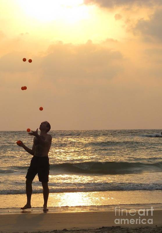 Israel Print featuring the photograph Sunset Juggling by Stav Stavit Zagron