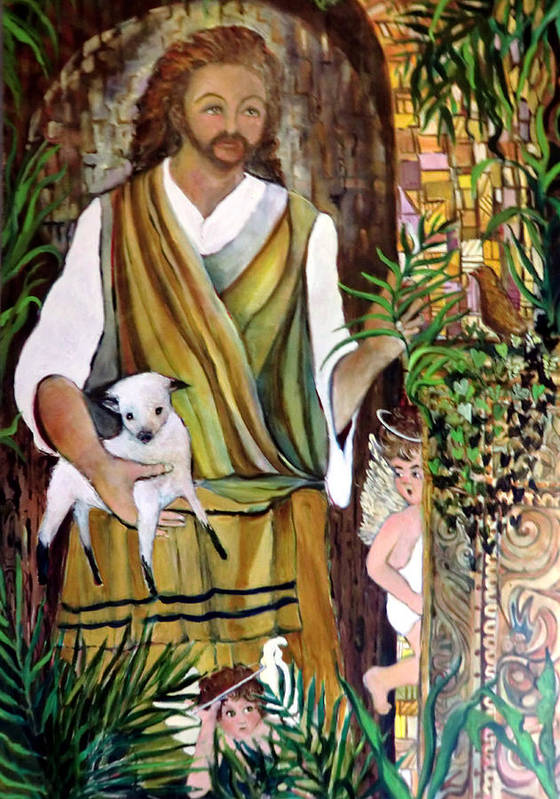 Jesus Print featuring the painting The Good Shephard At The Door by Mindy Newman