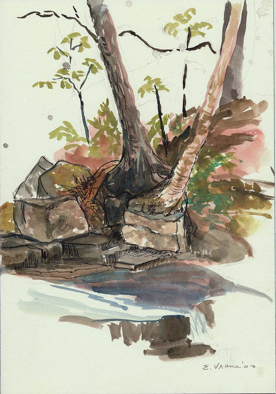 Indian Lake Print featuring the painting The Jessup Indian Lake Ny by Ethel Vrana