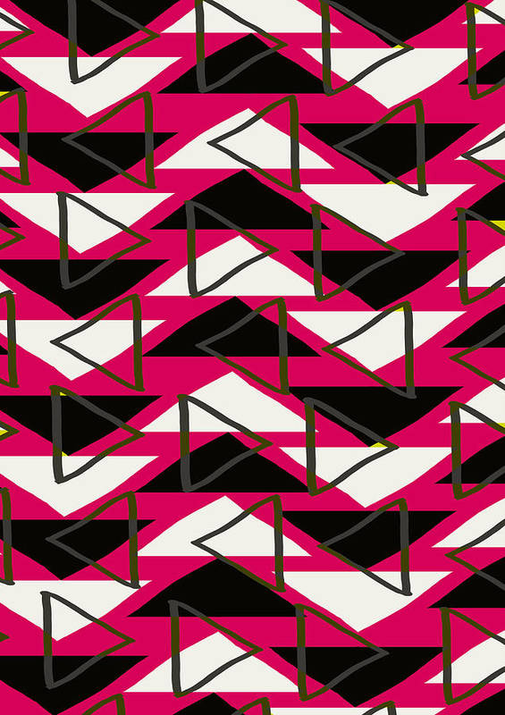 Louisa Print featuring the digital art Triangles by Louisa Knight