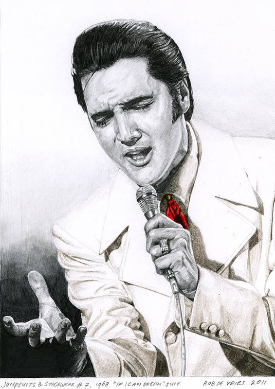 Elvis Print featuring the drawing 1968 White If I Can Dream Suit by Rob De Vries