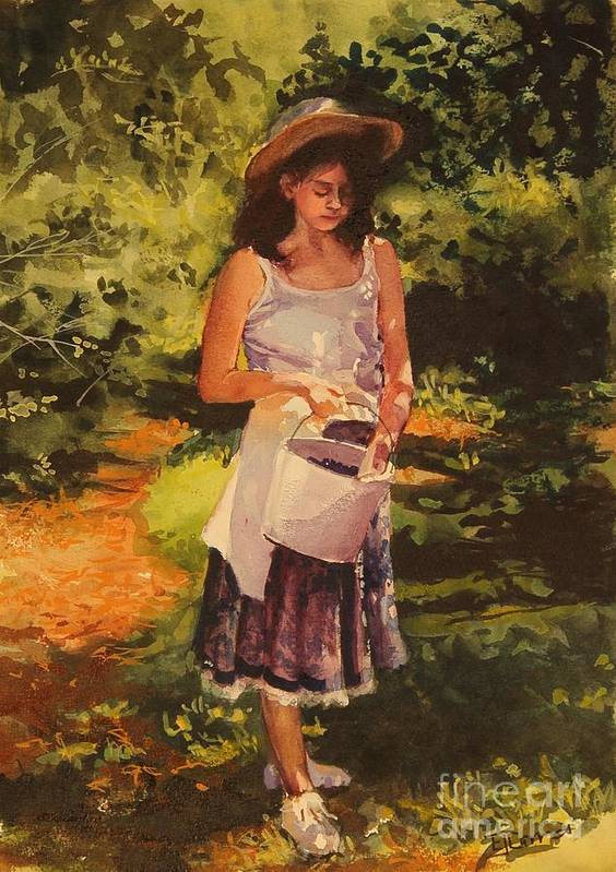 Girl Print featuring the painting Blueberry Girl by Elizabeth Carr