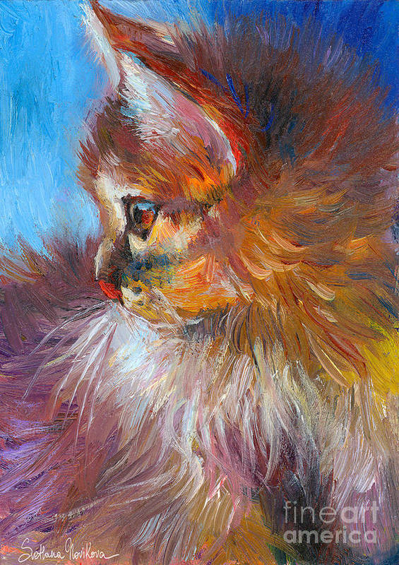 Tubby Cat Painting Print featuring the painting Curious Tubby Kitten Painting by Svetlana Novikova