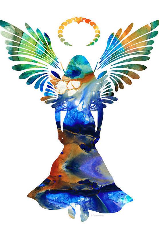 Guardian Print featuring the painting Healing Angel - Spiritual Art Painting by Sharon Cummings
