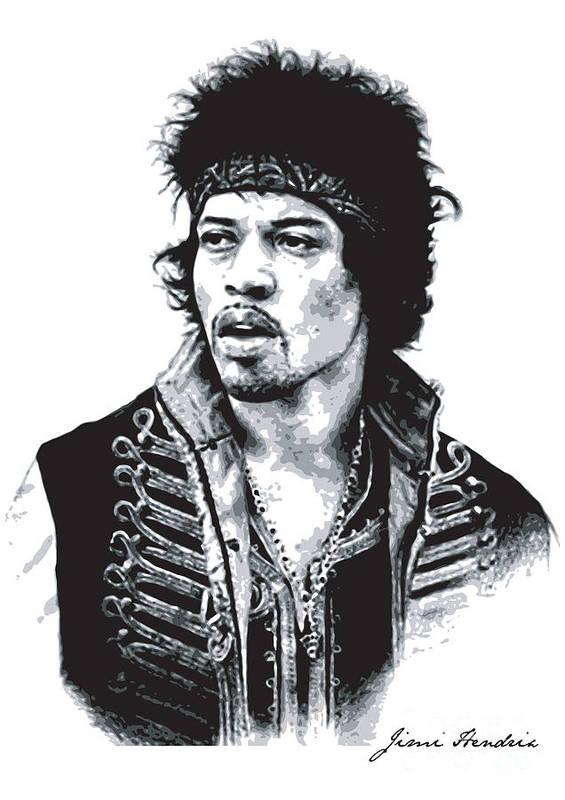 Hendrix Print featuring the digital art Hendrix No.02 by Caio Caldas