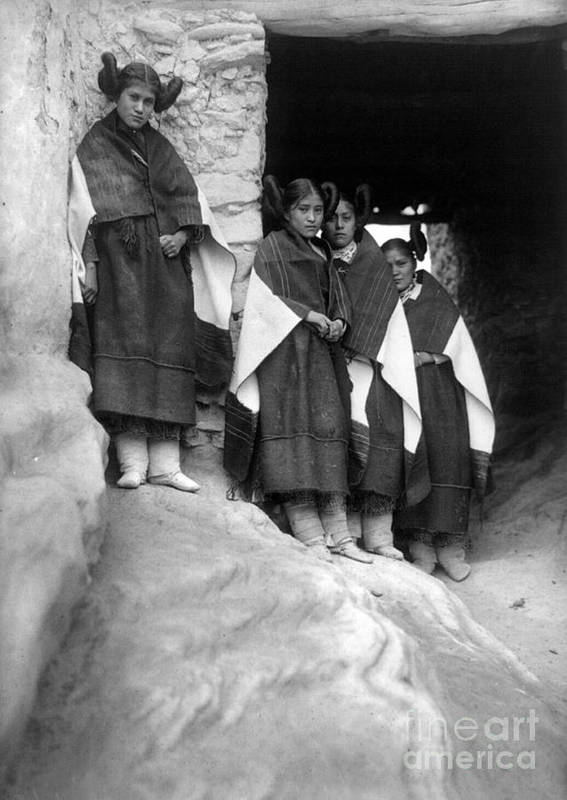 1906 Print featuring the photograph Hopi Maidens, 1906 by Granger