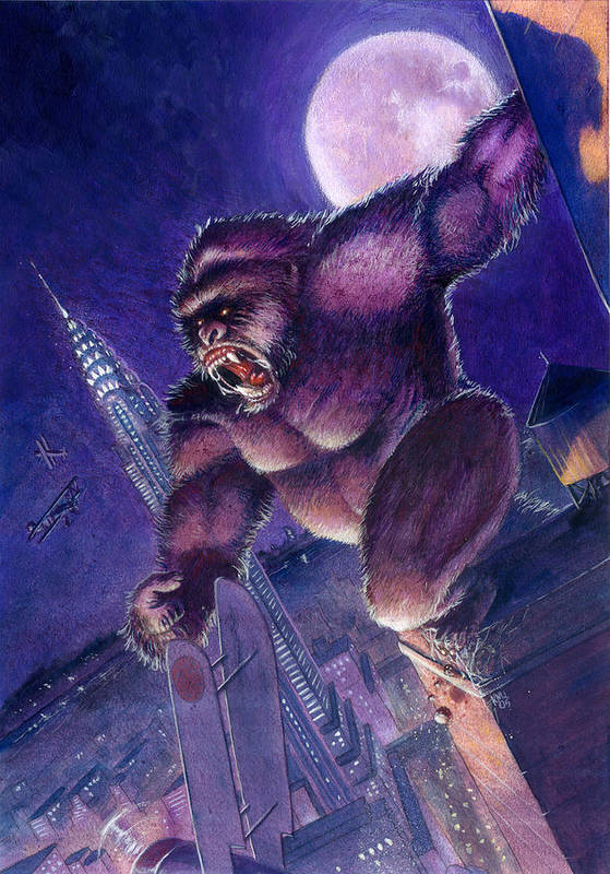 King Kong Print featuring the painting Kong by Ken Meyer jr