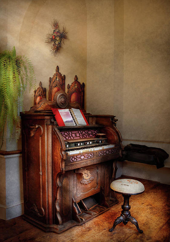 Hdr Print featuring the photograph Music - Organ - Hear The Joy by Mike Savad