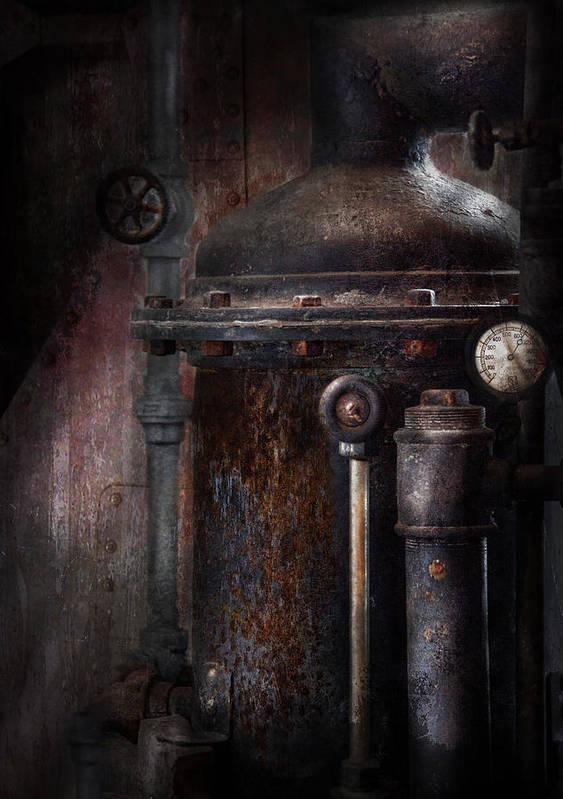 Hdr Print featuring the photograph Steampunk - Handling Pressure by Mike Savad