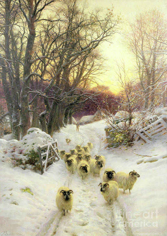 Sunset Print featuring the painting The Sun Had Closed The Winter's Day by Joseph Farquharson