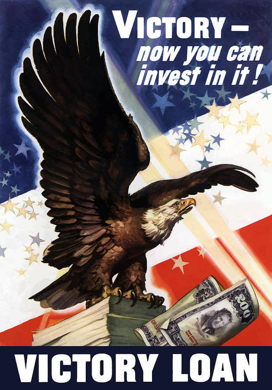 War Loan Print featuring the painting Victory Loan Bald Eagle by War Is Hell Store