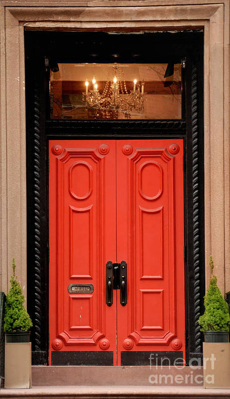 Apartment Print featuring the photograph Red Door On New York City Brownstone by Amy Cicconi