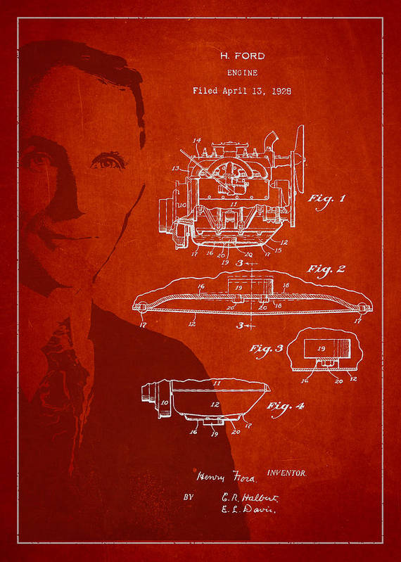Henry Ford Print featuring the drawing Henry Ford Engine Patent Drawing From 1928 by Aged Pixel