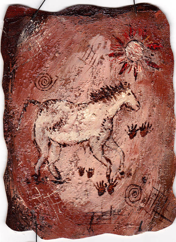Cave Art Print featuring the painting Cave Art by Shelley Bain