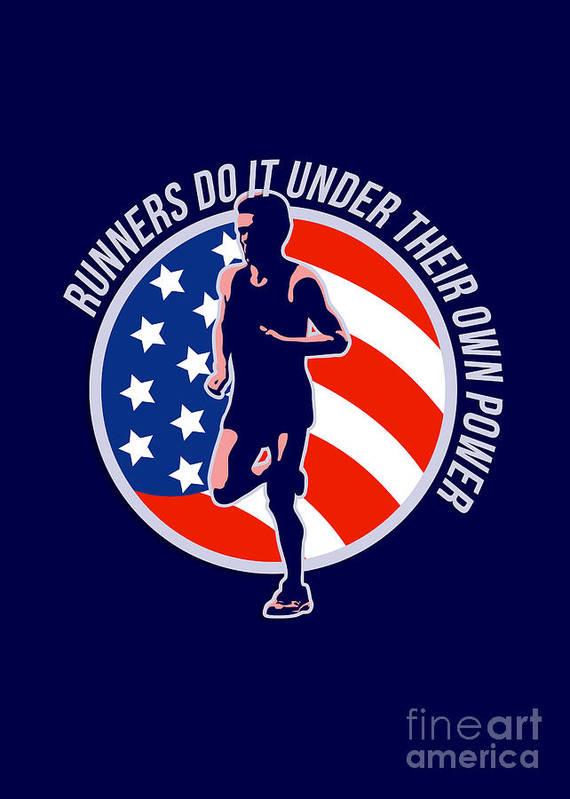 Poster Print featuring the digital art American Marathon Runner Running Power Retro by Aloysius Patrimonio