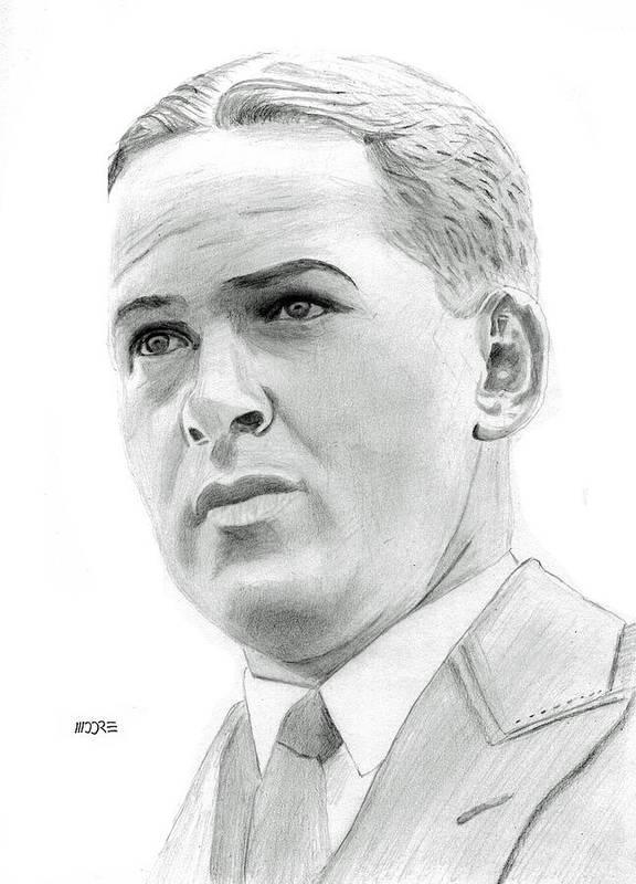 Robert Tyre Jones Print featuring the drawing Bobby Jones by Pat Moore
