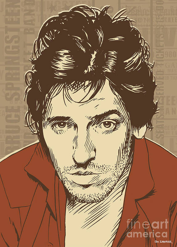 Rock N Roll Print featuring the digital art Bruce Springsteen Pop Art by Jim Zahniser