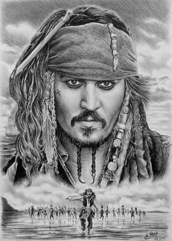 Andrew Read Print featuring the drawing Captain Jack Sparrow by Andrew Read