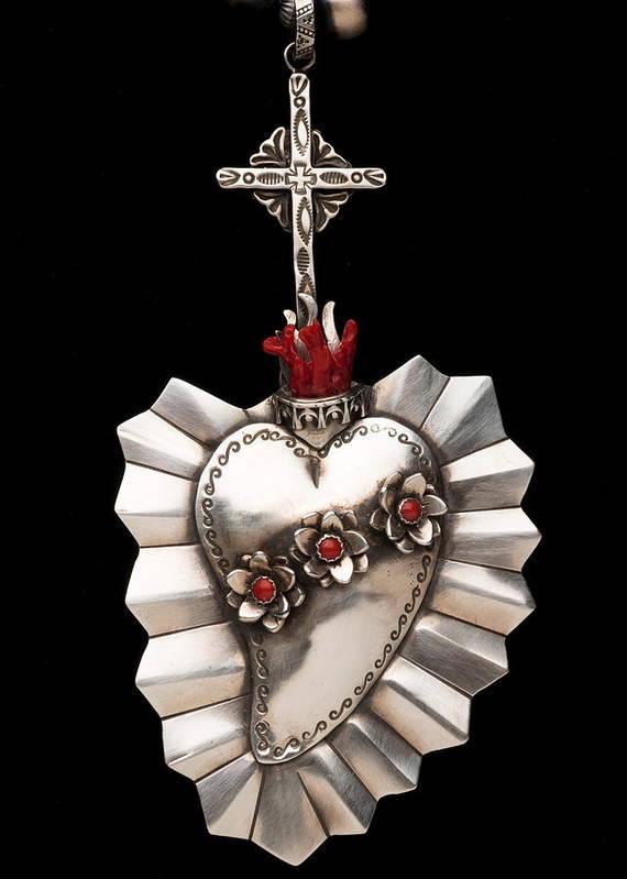 Santa Fe Print featuring the jewelry Corazon De Amor Y Fe by Gregory Segura