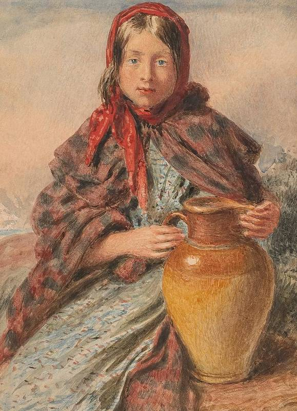 William Henry Hunt Print featuring the painting Cottage Girl Seated With A Pitcher by William Henry Hunt